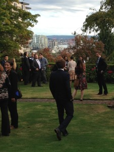 JET alumni gather in the garden at the Consul General's home in Seattle