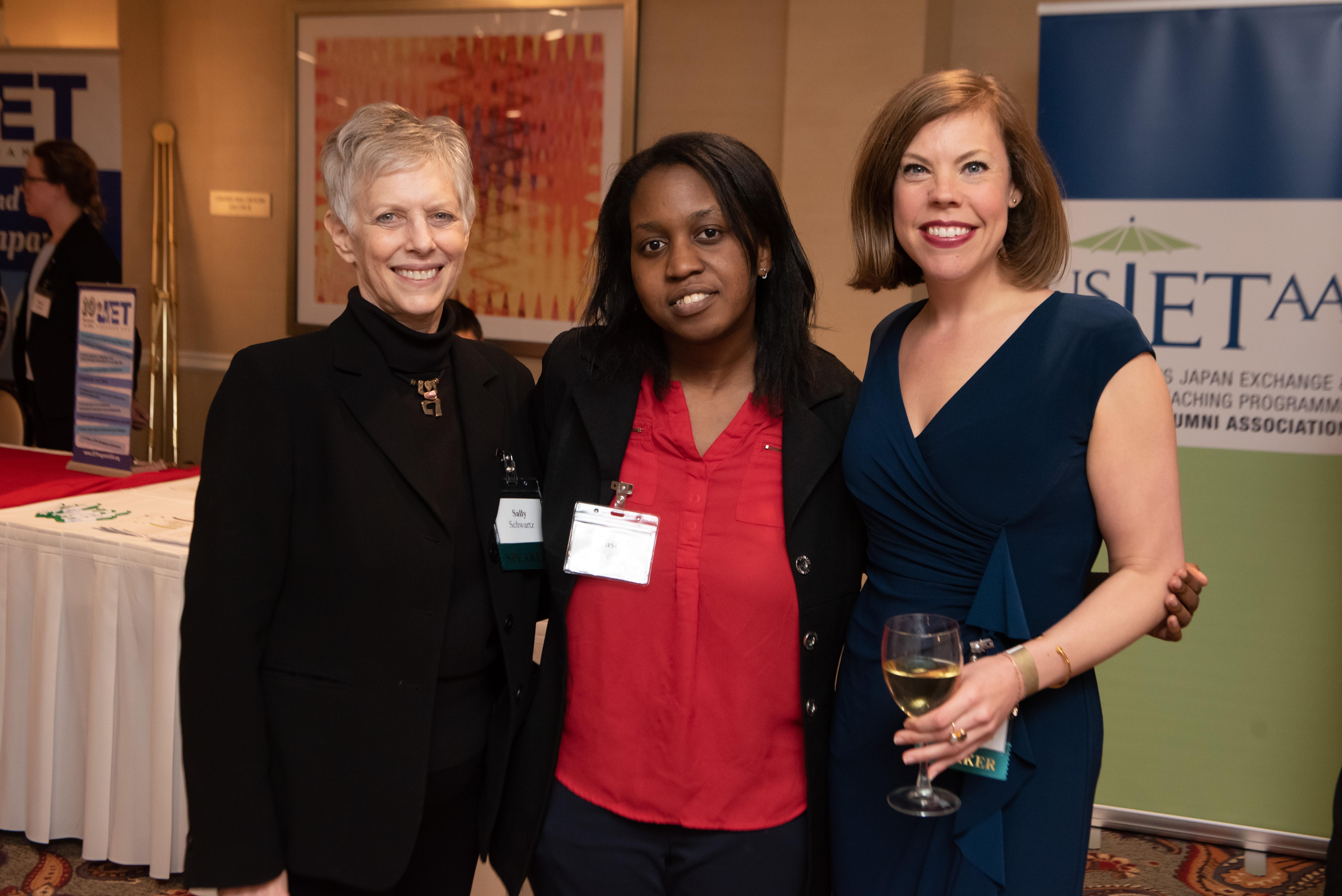 Sally Schwartz (Globalize DC), Casey Nealy (USJETAA), and Liz Brailsford (WACA)